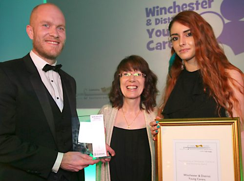 Winchester and District Young Carers with the University of Winchester Charity or Social Enterprise Award. Winchester Business Excellence Awards, Winchester Guildhall.               Picture: Chris Moorhouse